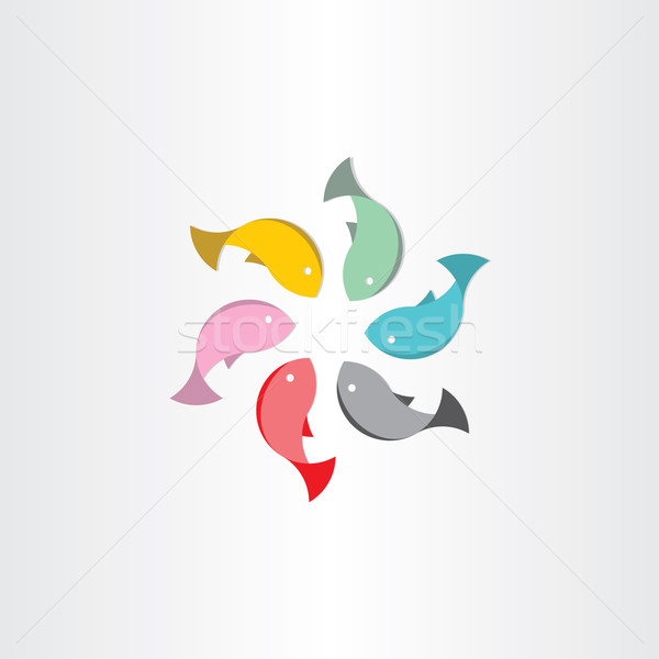 fish in circle abstract vector symbol Stock photo © blaskorizov