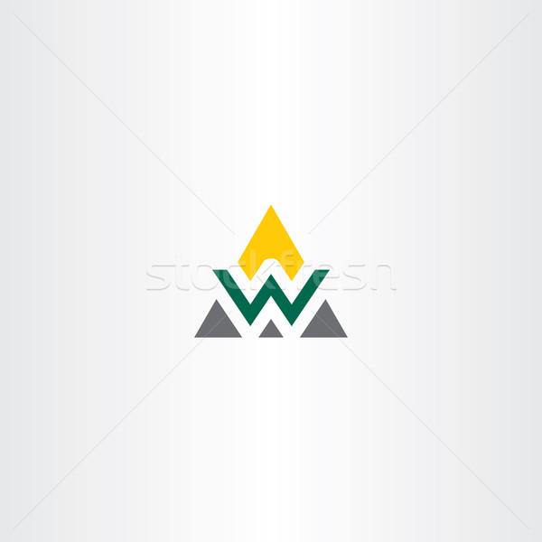 Háromszög logo w betű szimbólum vektor ikon Stock fotó © blaskorizov