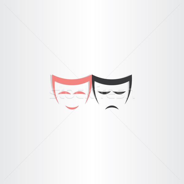 theater symbol happy and sad masks icon Stock photo © blaskorizov