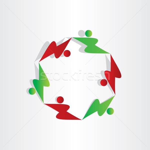Gyerekek játszanak gyerekek szimbólum absztrakt ikon terv Stock fotó © blaskorizov