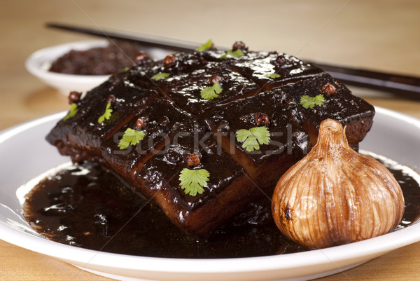 Braised Pork Belly with Dark Soy Sauce Stock photo © blinztree