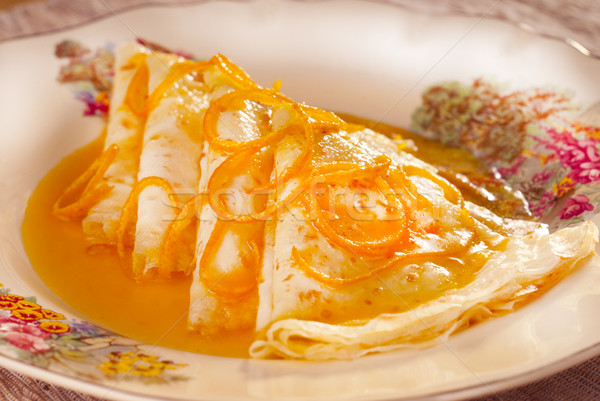 Klasik tatlılar turuncu pişirme sarışın fransız Stok fotoğraf © blinztree