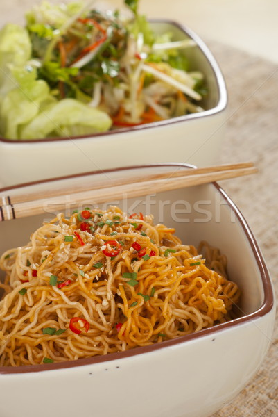 Sichuan Curly Noodles Tossed in Chili Oil Stock photo © blinztree
