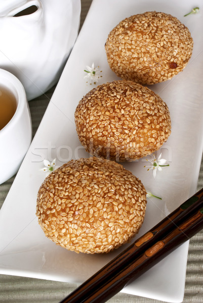 Red Bean Pastries coated with Sesame Seeds Stock photo © blinztree