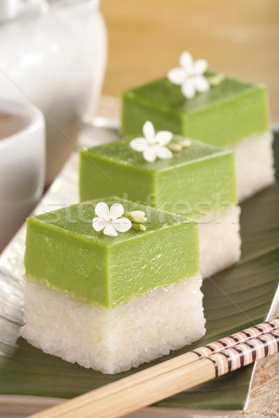 Seri Muka Kuih also known as the Pandan Custard Cake Stock photo © blinztree