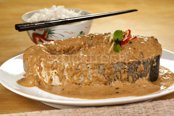 River Catfish in Green Peppercorn Fried Curry Stock photo © blinztree