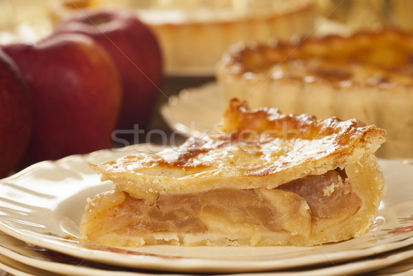 Chilled Apple Pie on Vintage English Plate Stock photo © blinztree