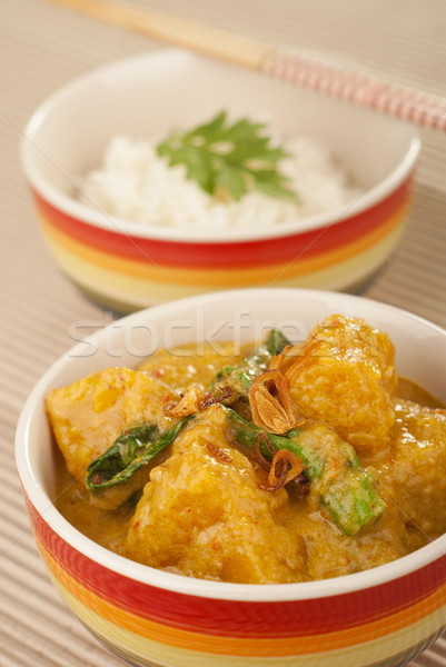 Stock photo: Nonya Pumpkin and Kailan Stew in Rich Coconut Suntan Gravy