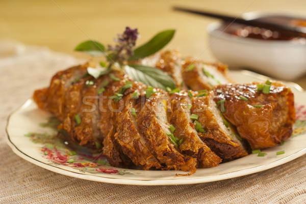 Five Spice Pork Rolls with Spicy Sambal Chili Sauce Stock photo © blinztree