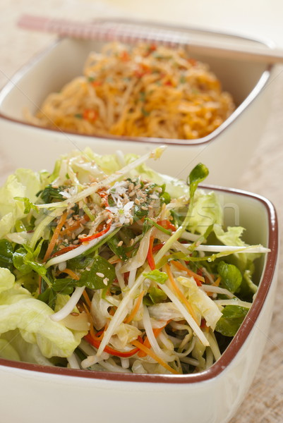 Micro Greens Salad with Sichuan Noodles Stock photo © blinztree