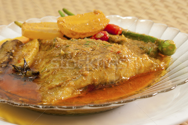 Nonya Asam Fish with Lady's Fingers Stock photo © blinztree