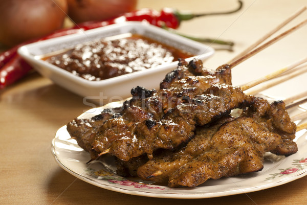 Meat Satay with Spicy Peanut Gravy  Stock photo © blinztree