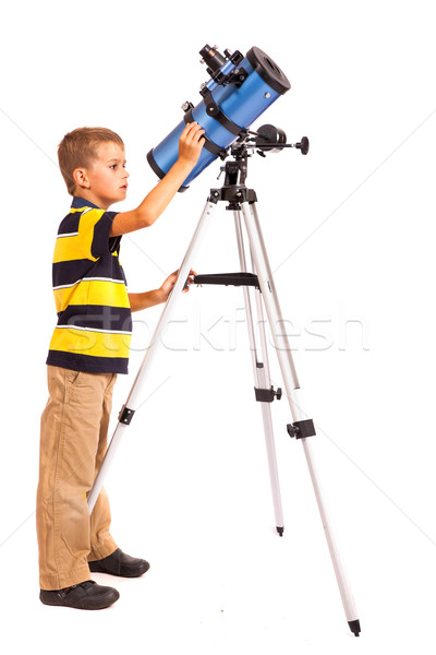 Child Looking Into Telescope on white Stock photo © bloodua