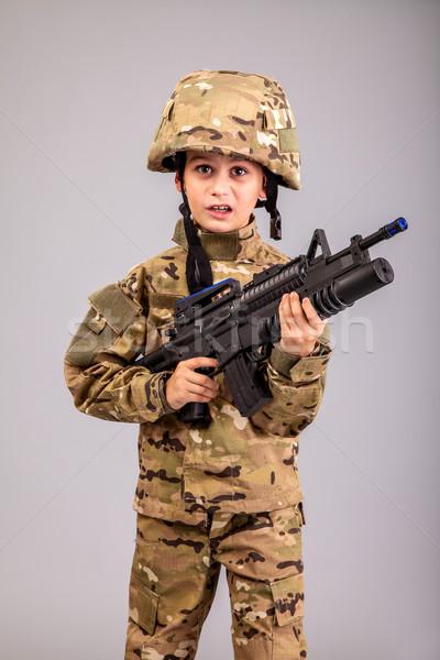 Zoals soldaat geweer geïsoleerd grijs Stockfoto © bloodua