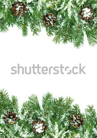 Christmas framework with snow isolated on white background Stock photo © bloodua
