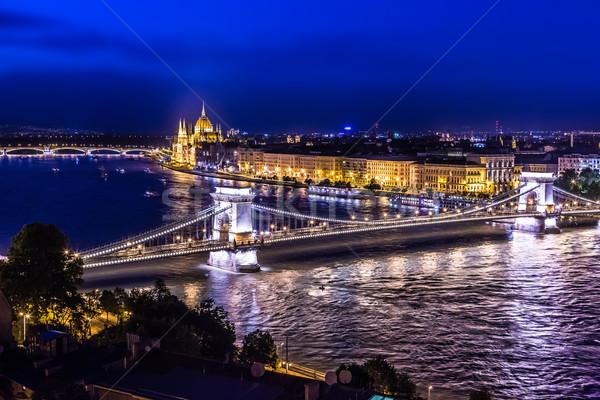 Panoráma Budapest Magyarország lánc híd folyó Stock fotó © bloodua