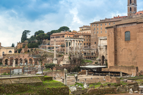Roma ören Roma antika mavi gökyüzü gün Stok fotoğraf © bloodua