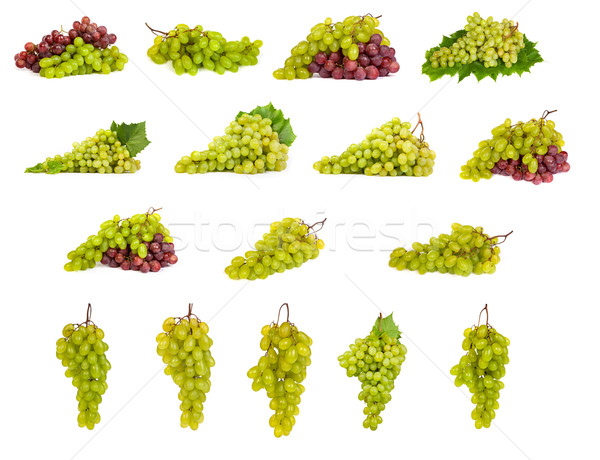 set of White and Red Grapes laying isolated Stock photo © bloodua