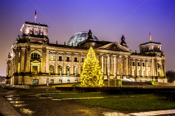 reichstag in berlin in winter at night with christmas tree Stock photo © bloodua