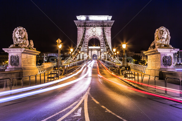 Stock photo: Night view of the famous Chain Bridge in Budapest, Hungary. The