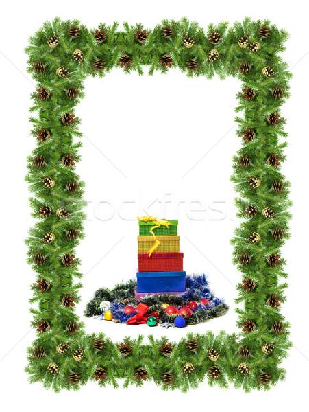 Christmas struktura zielone odizolowany biały drzewo Zdjęcia stock © bloodua