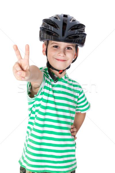 Chłopca kask odizolowany biały dziecko Zdjęcia stock © bloodua