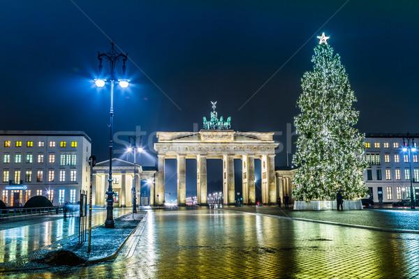 ストックフォト: ブランデンブルグ門 · ベルリン · ドイツ · 1泊 · 道路 · 側面図