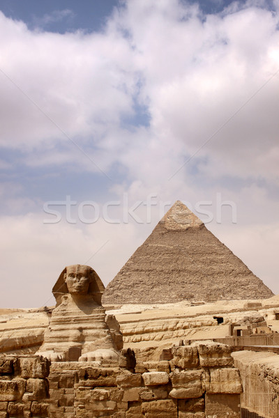 Sphinx and the Great Pyramid Stock photo © bloodua