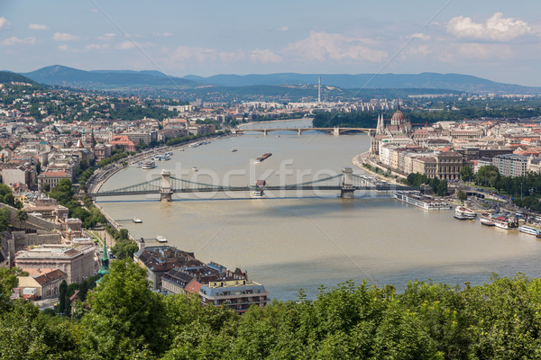 Ver edifício húngaro parlamento panorâmico danúbio Foto stock © bloodua