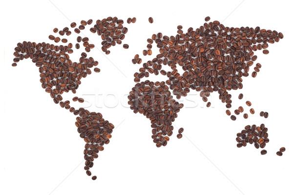 Koffie kaart bonen witte wereld chocolade Stockfoto © bloodua