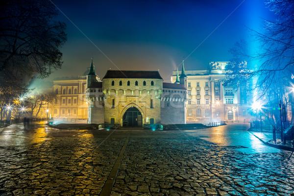 Lengyelország Krakkó piac tér éjszaka öreg Stock fotó © bloodua