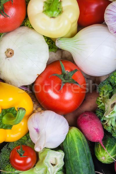 Stock fotó: Csoport · friss · zöldségek · izolált · fehér · levél · gyümölcs