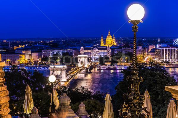 Панорама Будапешт Венгрия цепь моста реке Сток-фото © bloodua