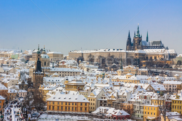 Prague in winter, panorama and cityscape Stock photo © bloodua