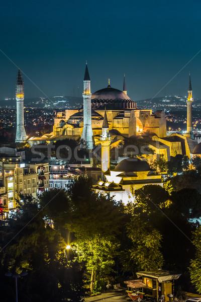 Vista Estambul Turquía Sofía noche Foto stock © bloodua
