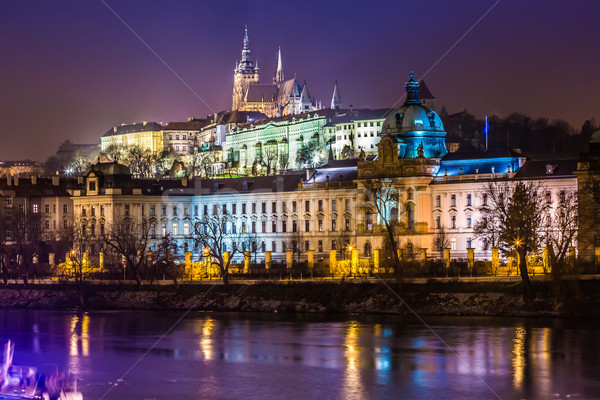 Stock photo: The View on Prague gothic Castle with Charles Bridge