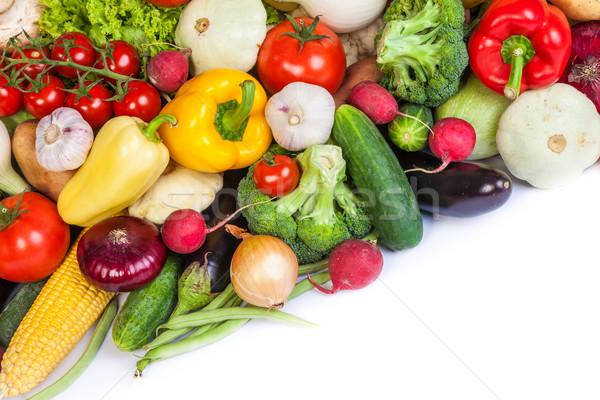 группа свежие овощи изолированный белый лист фрукты Сток-фото © bloodua
