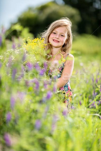 Zdjęcia stock: Dziewczynka · trawy · bukiet · szczęśliwy