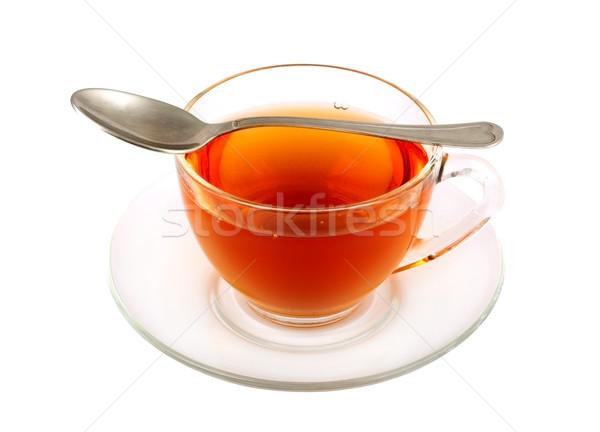 Fincan çay yalıtılmış beyaz siyah Stok fotoğraf © bloodua