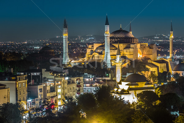 Evening view of the Hagia Sophia in Istanbul, Turkey Stock photo © bloodua