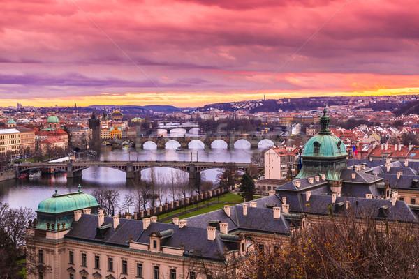 Bridges in Prague over the river at sunset Stock photo © bloodua