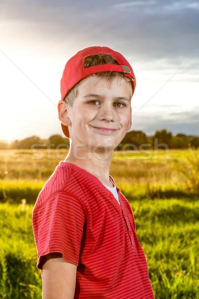 Boy Child Portrait Smiling Cute ten years old outdoor Stock photo © bloodua