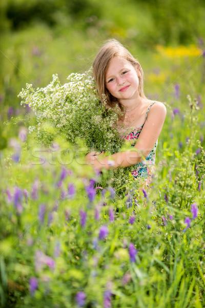 女の子 草 花束 幸せ ストックフォト © bloodua