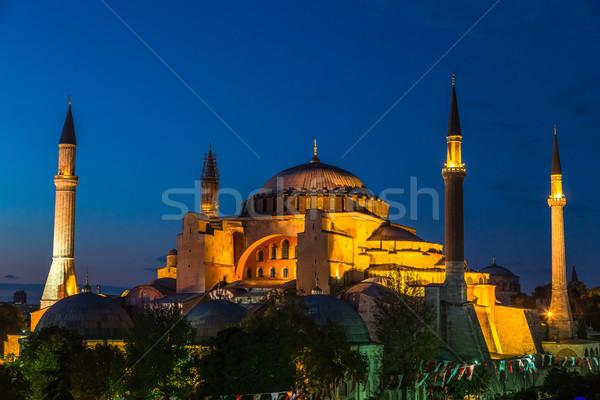 Hagia Sophia in Istanbul Turkey at night Stock photo © bloodua