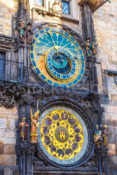 Csillagászati óra Prága Csehország város felirat Stock fotó © bloodua