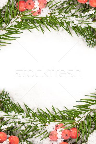 Karácsony váz hó bogyó izolált fehér Stock fotó © bloodua