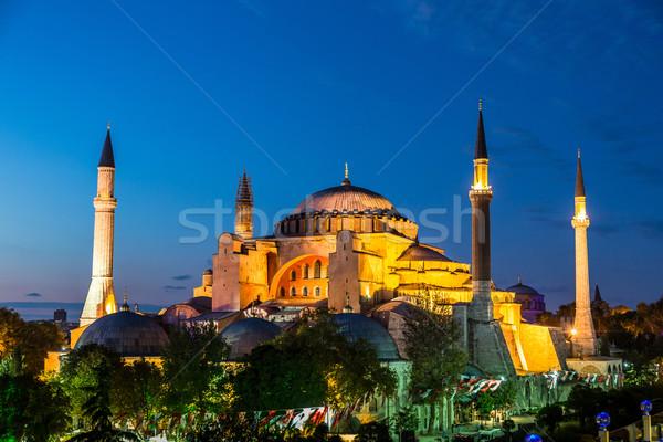Isztambul Törökország éjszaka ortodox bazilika mecset Stock fotó © bloodua