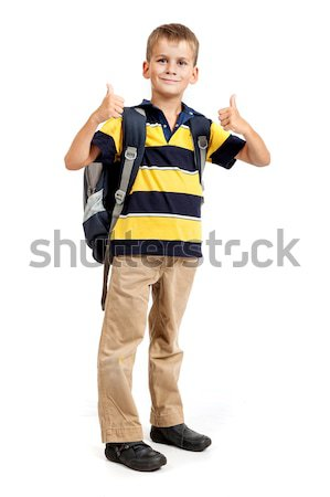 Schoolboy sitting on books Stock photo © bloodua