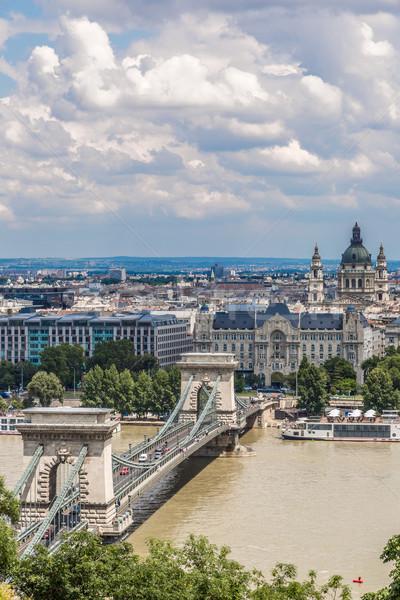 Chain Bridge and Hungarian Parliament, Budapest, Hungary Stock photo © bloodua