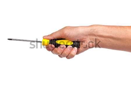 Mano amarillo negro destornillador aislado Foto stock © bloodua